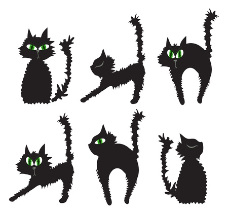 illustration of set of black cats  Vector