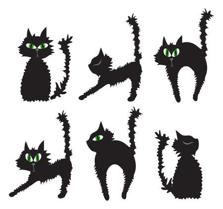 illustration of set of black cats Stock Vector - 9727472