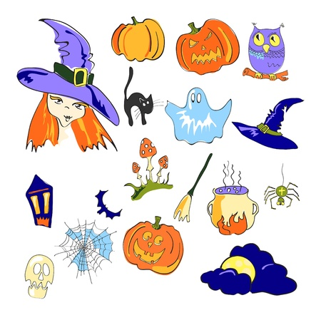 illustration of color elements of Halloween Vector