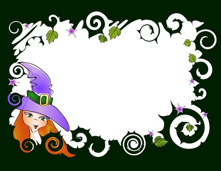 illustration of frame with witch Stock Vector - 9728086