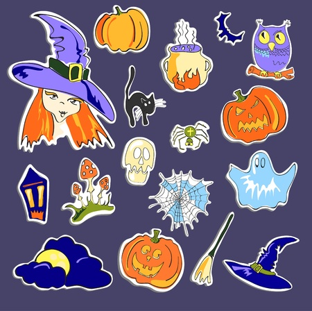 illustration of Halloween stickers on violet background  Vector