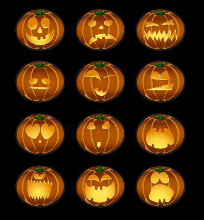 illustration of set of pumpkin smiles on a background Vector