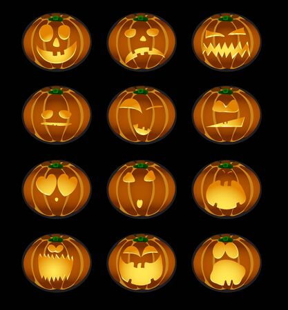 illustration of set of pumpkin smiles on a background Vector