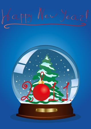 illustration of a snow globe with a Christmas tree and the year number against blue background Vector
