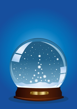 snow falling: illustration of a globe with falling snow in the shape of tree against blue background