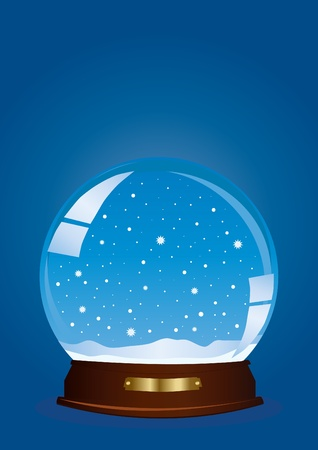 illustration of a globe with falling snow against blue background  Vector