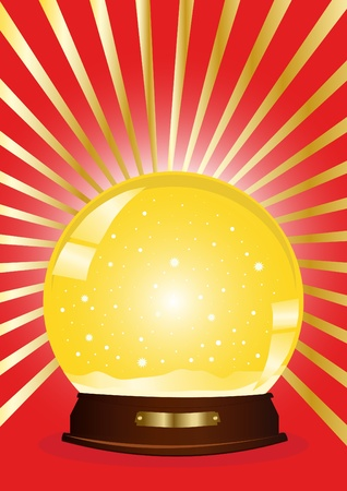 illustration of a yellow snow globe with rays against red background  Vector