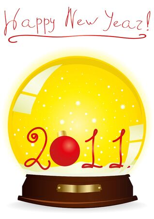 happy newyear: illustration of a yellow snow globe with 2011 year number