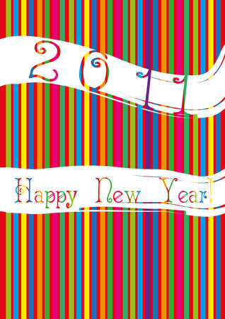 happy newyear: illustration of 2011 Happy New Year against striped background