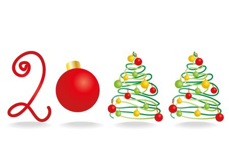 illustration of 2011 Happy New Year with Christmas trees and a ball Stock Vector - 9727463
