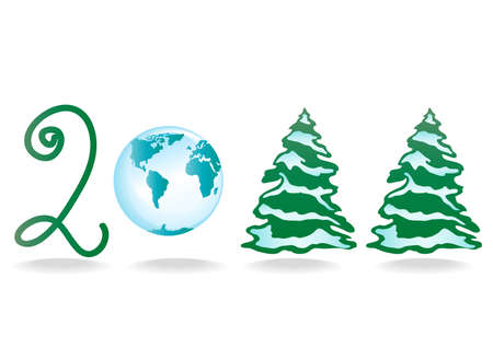 illustration of 2011 Happy New Year with Christmas trees and a globe Stock Vector - 9728009