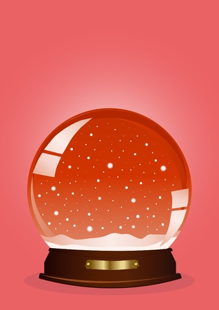 illustration of a red snow globe against red background Vector