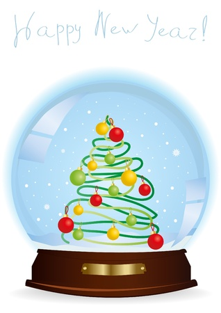 happy newyear:  illustration of a snow globe with a decorated Christmas tree and the inscription above