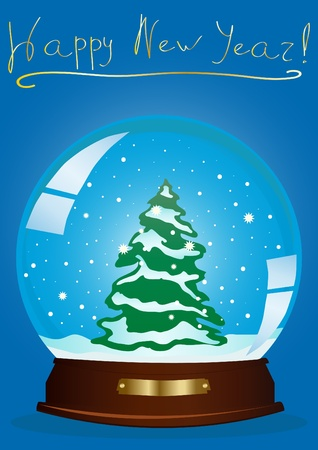 illustration of a snow globe with a Christmas tree and the inscription above against blue background  Vector