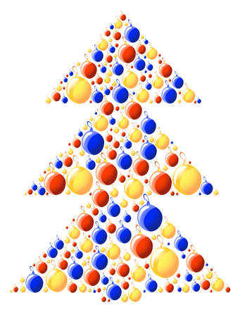 illustration of xmas-tree made of color balls Stock Vector - 9728195