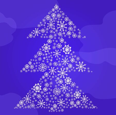 illustration of fir-tree made of snowflakes on the background of sky   Stock Vector - 9728324