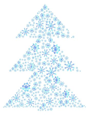 illustration of Christmas tree made of snowflakes Stock Vector - 9728325
