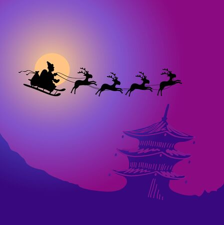 illustration of Santa Claus with reindeers flying over China Stock Vector - 9727447
