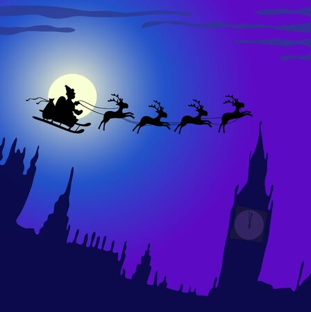 illustration of Santa Claus with reindeers flying over England  Vector