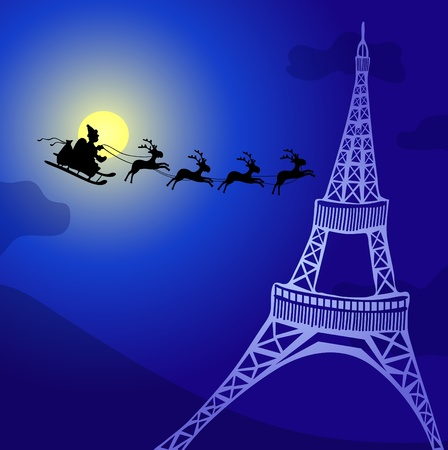 illustration of Santa Claus with reindeers flying over France  Vector