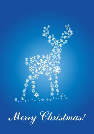 x mas card: illustration of fawn made of snowflakes   over text Merry Christmas