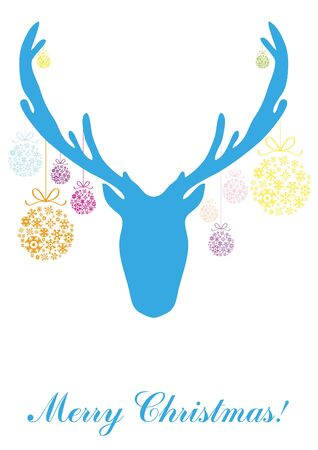 illustration of blue head of deer with Christmas balls Stock Vector - 9728314