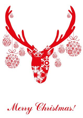 red head:  illustration of red head of deer with Christmas balls  Illustration