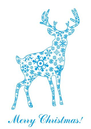 illustration of deer made of blue snowflakes over text Merry Christmas Vector