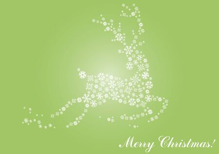 illustration of jumping reindeer on a green background  Vector