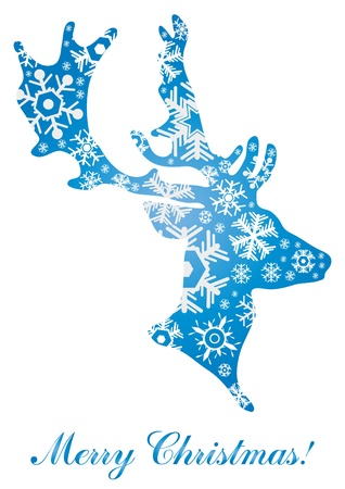 illustration of abstract Christmas deer formed by  snowflakes Vector