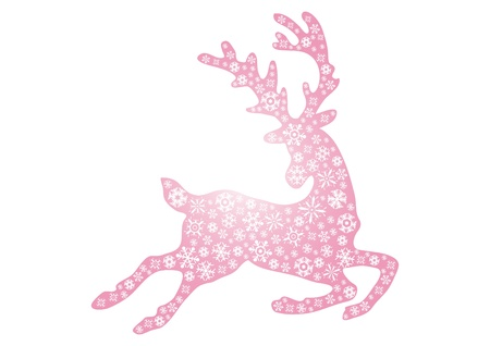 illustration of jumping pink reindeer on a white background