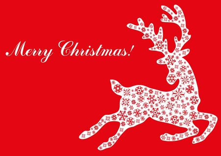illustration of jumping reindeer with text Merry Christmas Stock Vector - 9728232