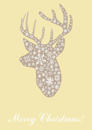 illustration of head of deer with text Merry Christmas Stock Vector - 9726752