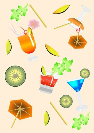 bar ware: Collection of objects required for cocktails illustration