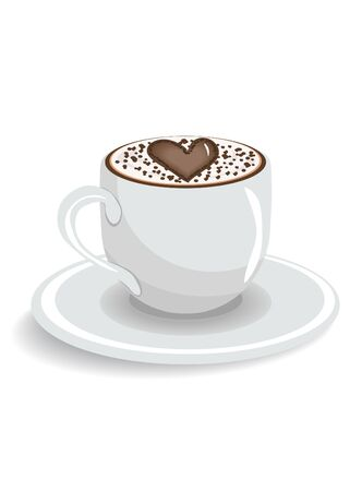Cup of coffee with heart, illustration Vector