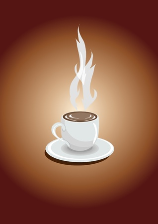 One cup of espresso on a brown background, illustration