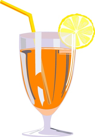 Glass of orange juice, illustration    Vector