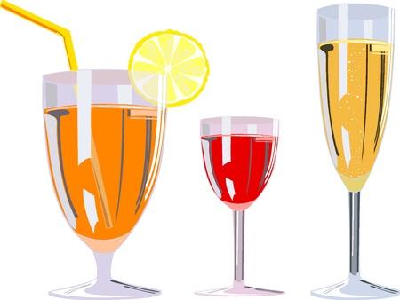 illustration of three alcoholic glasses  Vector