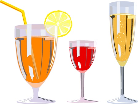 illustration of three alcoholic glasses  Vector