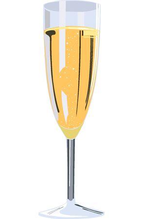 illustration of one champagne flute