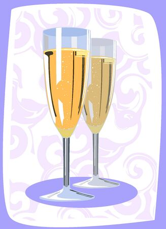 illustration of two champagne flutes  Vector