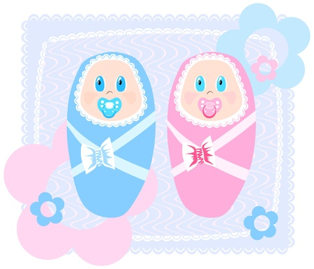 swaddling: illustration of new-born babies in swaddling clothes