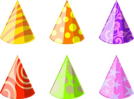 gorros de fiesta: Ilustraci�n de seis sombreros de fiesta de color