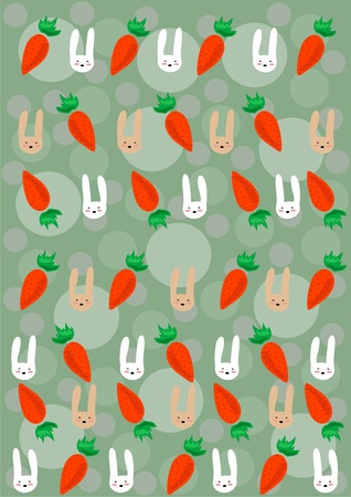 illustration of muzzle of rabbits and  carrots Stock Vector - 9728020