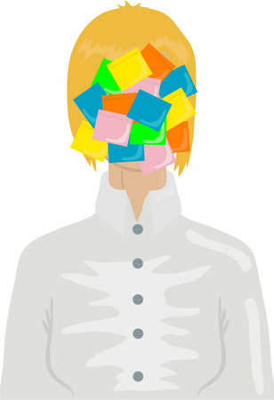 illustration of businesswoman with color stickers  Vector