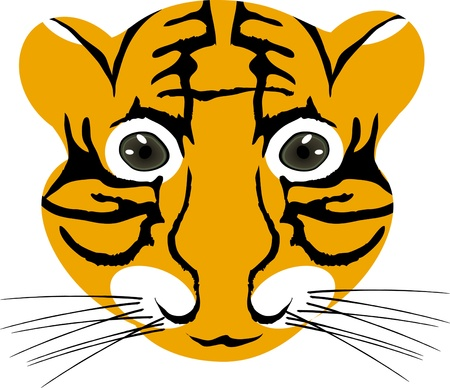 illustration of tiger baby head isolated on a white background  Vector