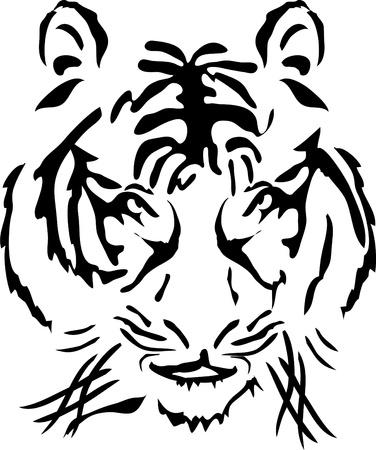 Ilustración de cabeza de tigre de Bengala