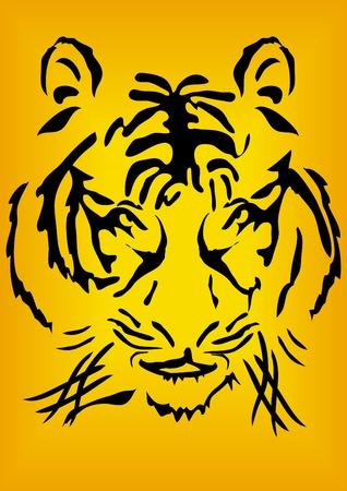Bengal tiger head over orange background, illustration    Stock Vector - 9727437