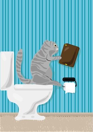 illustration of cat reading book over toilet Ilustracja