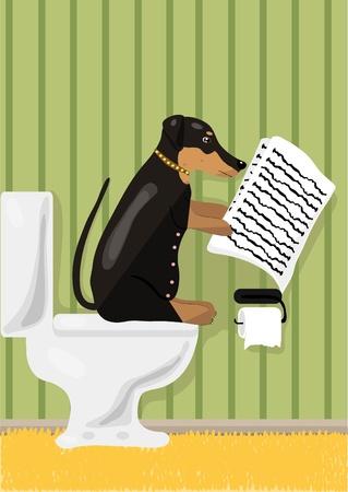 kelpie: Dog reads news in restroom, illustration